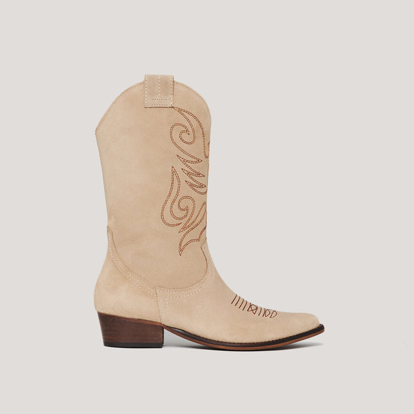 Beige leather cowboy boot JANDRA- Bryan Stepwise