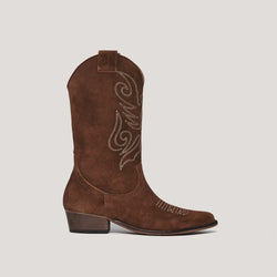 Brown leather cowboy boot JANDRA - Bryan Stepwise