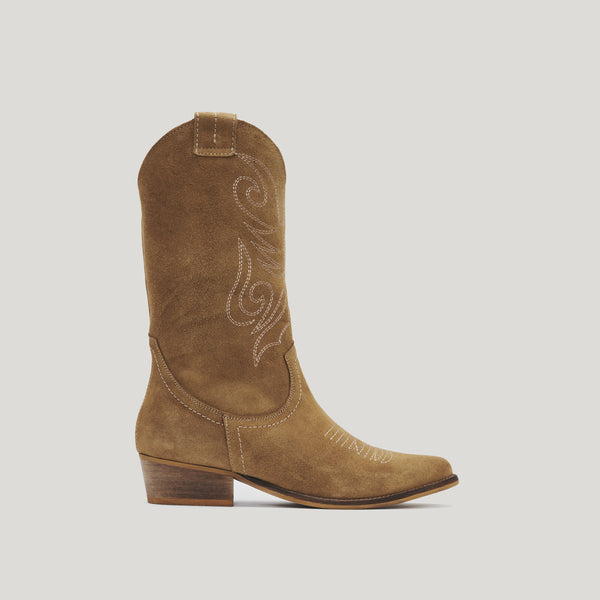 Soft brown leather cowboy boot JANDRA - Bryan Stepwise