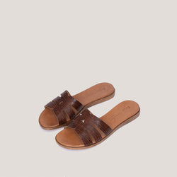 Animal print brown leather sandal - COCO