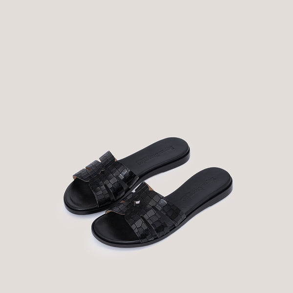 Animal print black leather sandal COCO - Bryan Stepwise