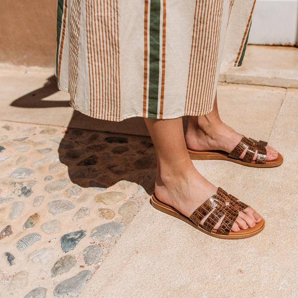 Animal print brown leather sandal COCO - Bryan Stepwise