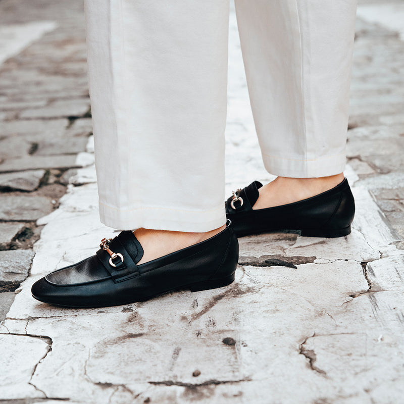 Black leather loafer - JUNO - Bryan Stepwise