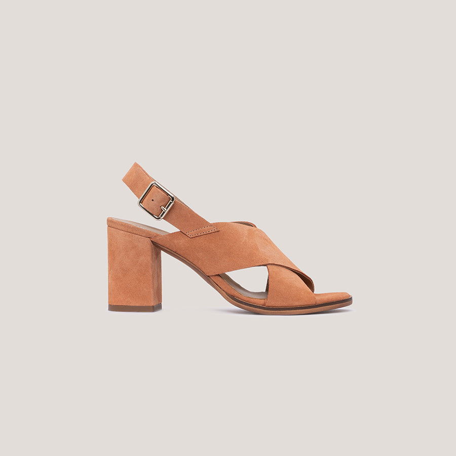 High heel clay leather sandal - DIANE - Bryan Stepwise