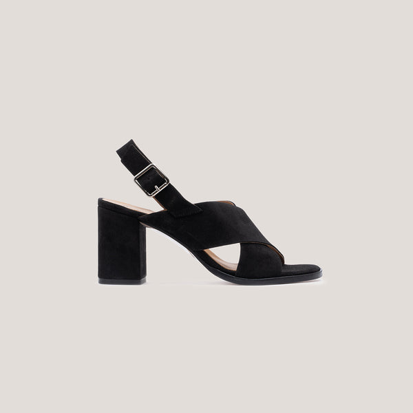 High heel black leather sandal - DIANE