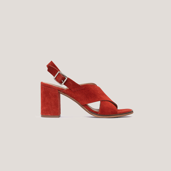 High heel red leather sandal - DIANE