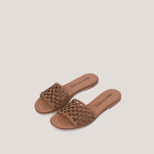 Brown braided sandal - ERMINE - Bryan Stepwise
