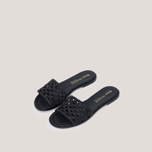 Black braided sandal - ERMINE - Bryan Stepwise