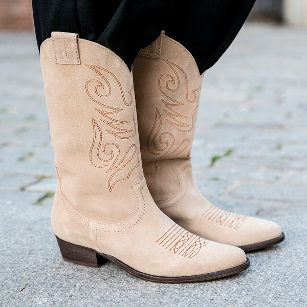 Beige leather cowboy boot - JANDRA - Bryan Stepwise