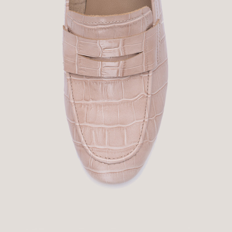 Nude croc loafer - JUNO