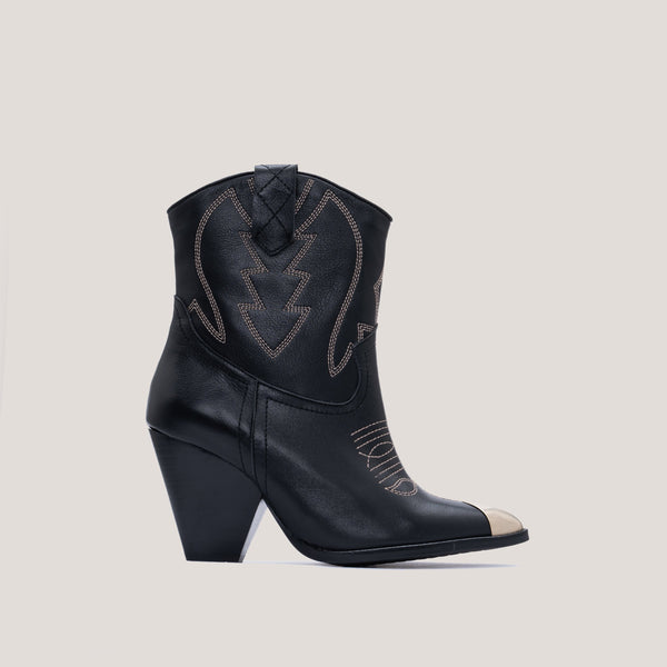 Black leather cowboy boot - Margot - Bryan Stepwise