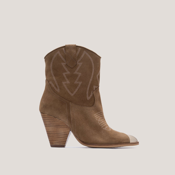 Soft brown leather cowboy boot - Margot - Bryan Stepwise