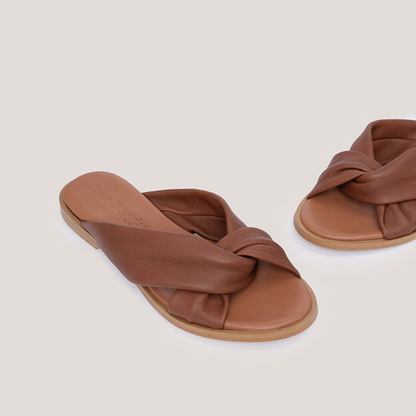 Brown cross leather sandal - MEDUSA - Bryan Stepwise