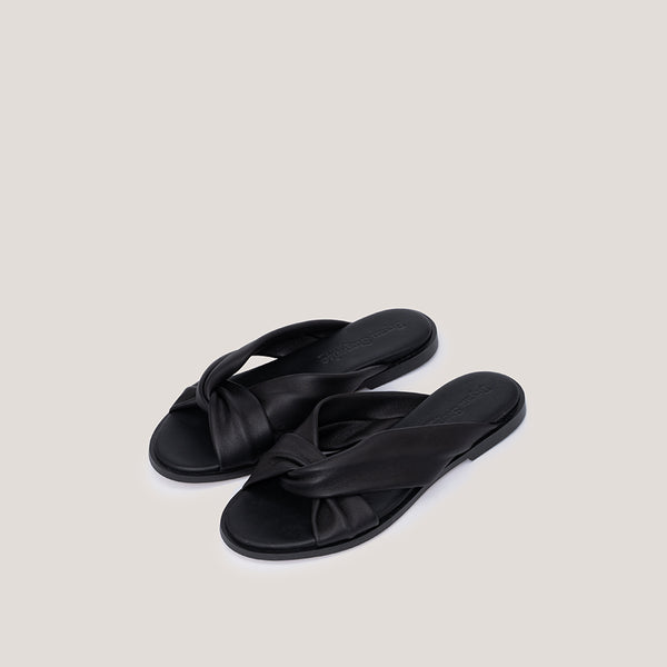 Black cross leather sandal - MEDUSA - Bryan Stepwise