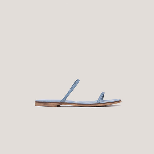 Blue strappy leather flat sandal - MILÁN - Bryan Stepwise