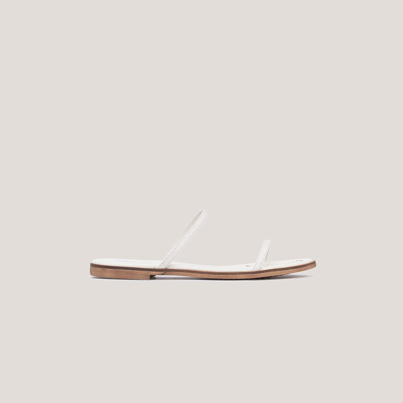 White strappy leather flat sandal - MILÁN - Bryan Stepwise
