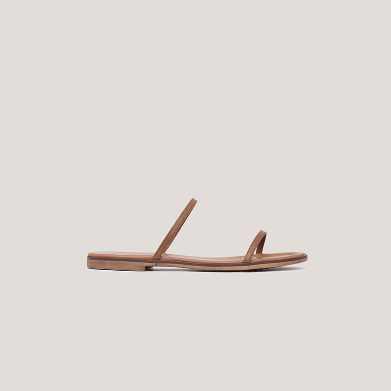 Brown strappy leather flat sandal - MILÁN