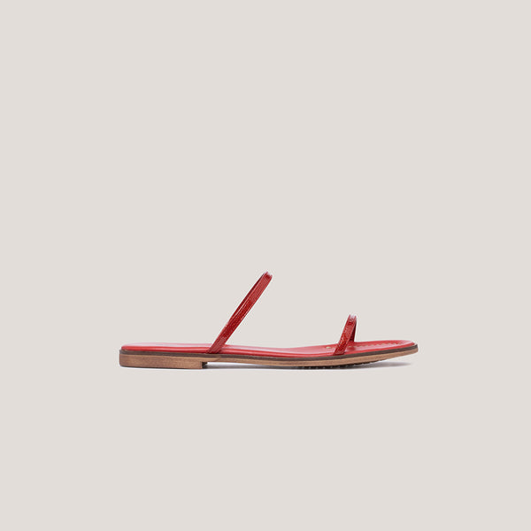 Red strappy leather flat sandal - MILÁN - Bryan Stepwise