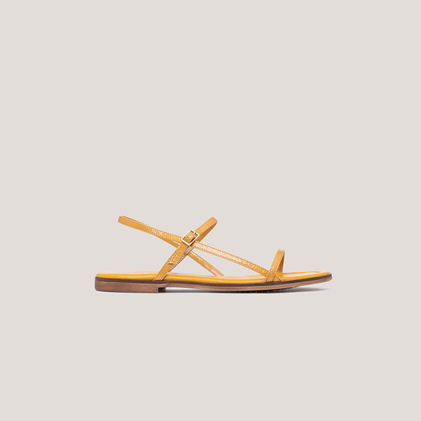 Yellow leather strap buckle sandal - MILÁN - Bryan Stepwise