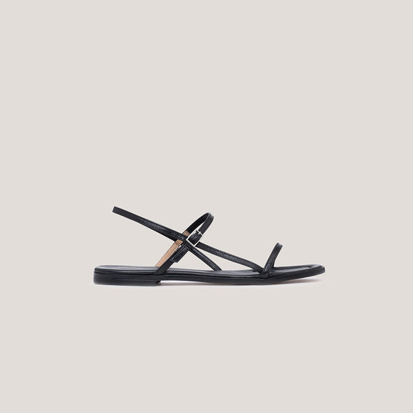 Black leather strap buckle sandal - MILÁN