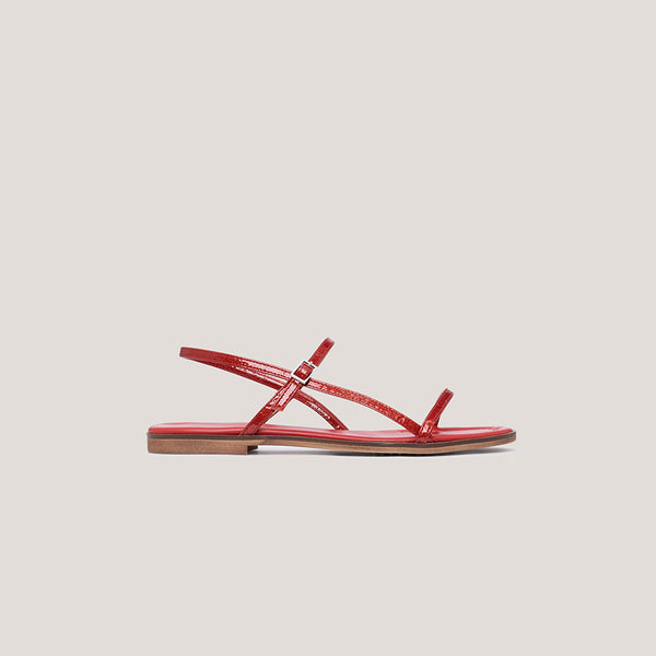 Red leather strap buckle sandal - MILÁN
