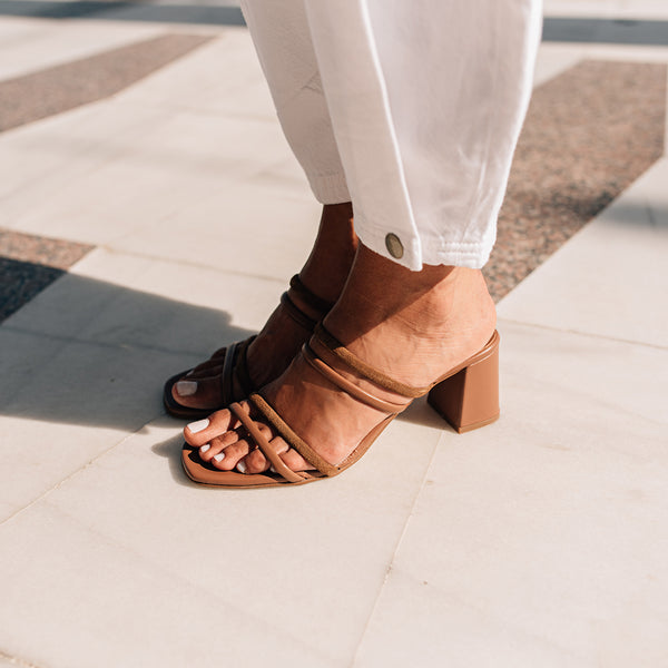 High heel strappy brown sandals - NOLITA - Bryan Stepwise