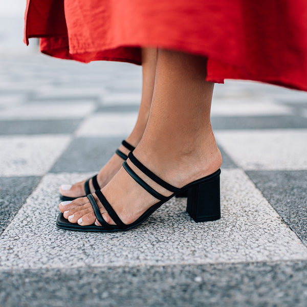 High heel strappy black sandals - NOLITA - Bryan Stepwise