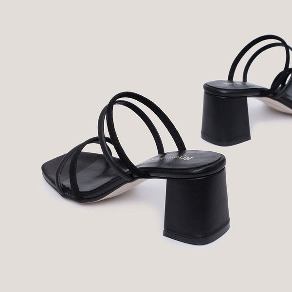 High heel strappy black sandals - NOLITA