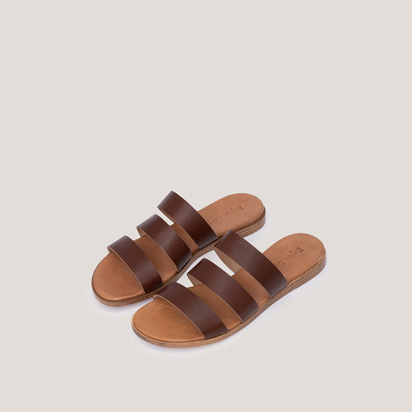 Brown leather sandal OLYMPIA - Bryan Stepwise