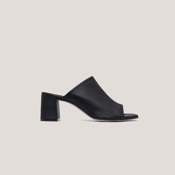 High heel black leather mule - Paloma - Bryan Stepwise