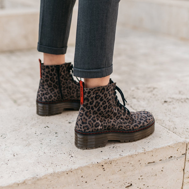 Leopard military leather grey boot ARIA - Bryan Stepwise