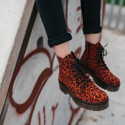 Leopard military leather red boot ARIA - Bryan Stepwise