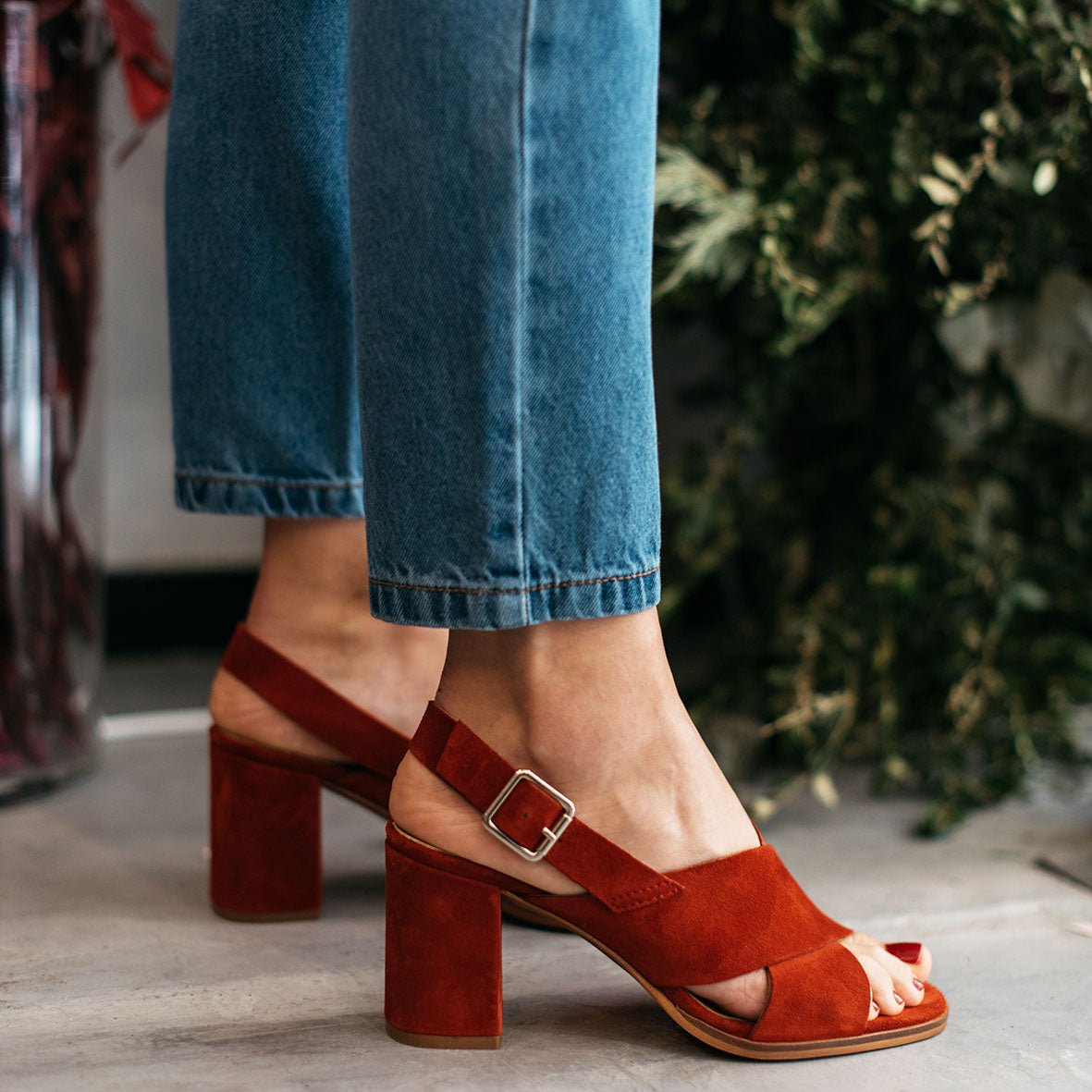 High heel red leather sandal DIANE- Bryan Stepwise