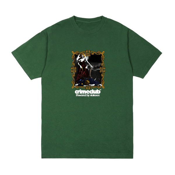 MURDER  FOREST GREEN TEE - crimeclubmfg