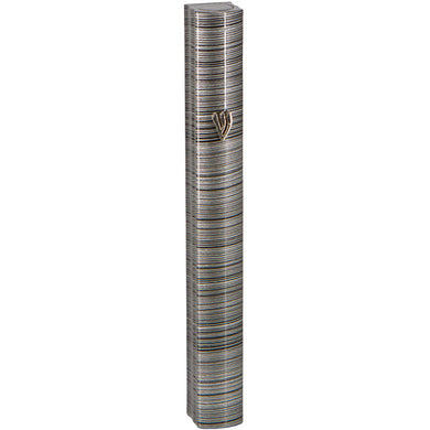 Aluminum Mezuzah 12cm-3D Metallic Gray Striped Design