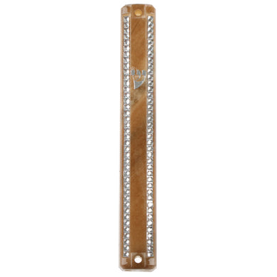 Plastic Mezuzah 3D Metallic Paint 12cm- With Rubber Cork