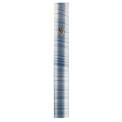 Aluminum Mezuzah 10 cm-3D Metallic Gray & Blue Striped Design- Special profile, Metal