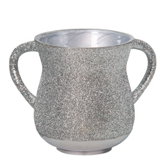 Elegant Aluminum Washing Cup 11 cm - In Silver Glitter Coating