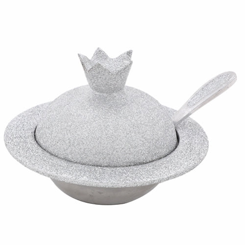 Aluminum Honey Dish 9X12X8 cm - In Silver Glitter Coating + Teaspoon
