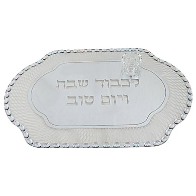 Glass Challah Tray with Stones 45X30 cm