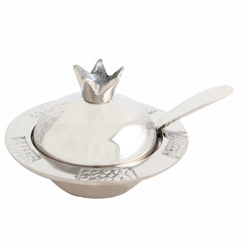 Aluminum Pomegranate Honey Dish 12*8 cm- Silver and Gray