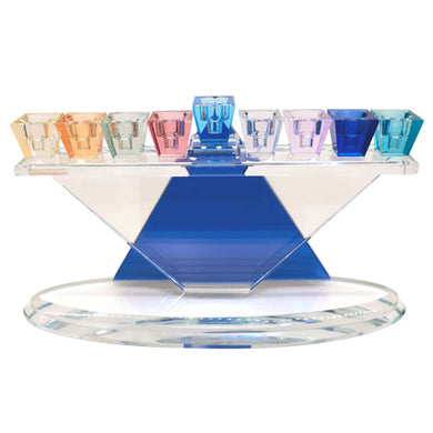 Crystal Menorah 32*18cm Star of David with Multicolored Branches