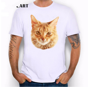 Summer dress personality fun spoof kitten crime photo cartoon print T-shirt modal cotton youth clothes tide