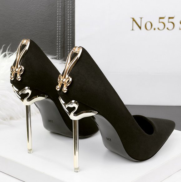 Women's fashion pointed high heels nightclub sexy metal with women's shoes stiletto metal bow banquet