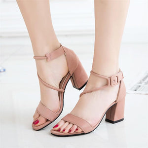 Thick heel high heel buckle sandals