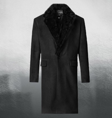 Winter black fur collar men's long woolen coat coat