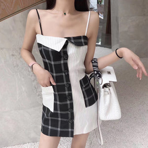Summer plaid stitching contrast color fashion strap dress female retro slimming word collar