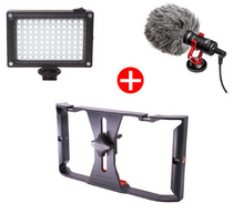 Cargar imagen en el visor de la galería, Recording Universal Capacitor Microphone +Video Light+Phone Holder
