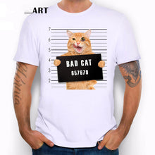 Cargar imagen en el visor de la galería, Summer dress personality fun spoof kitten crime photo cartoon print T-shirt modal cotton youth clothes tide