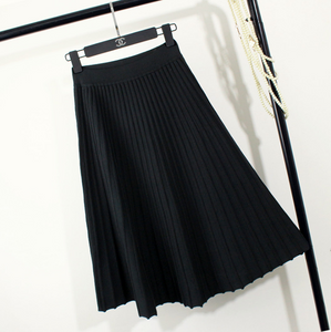 Skirt female solid color was thin knit skirt